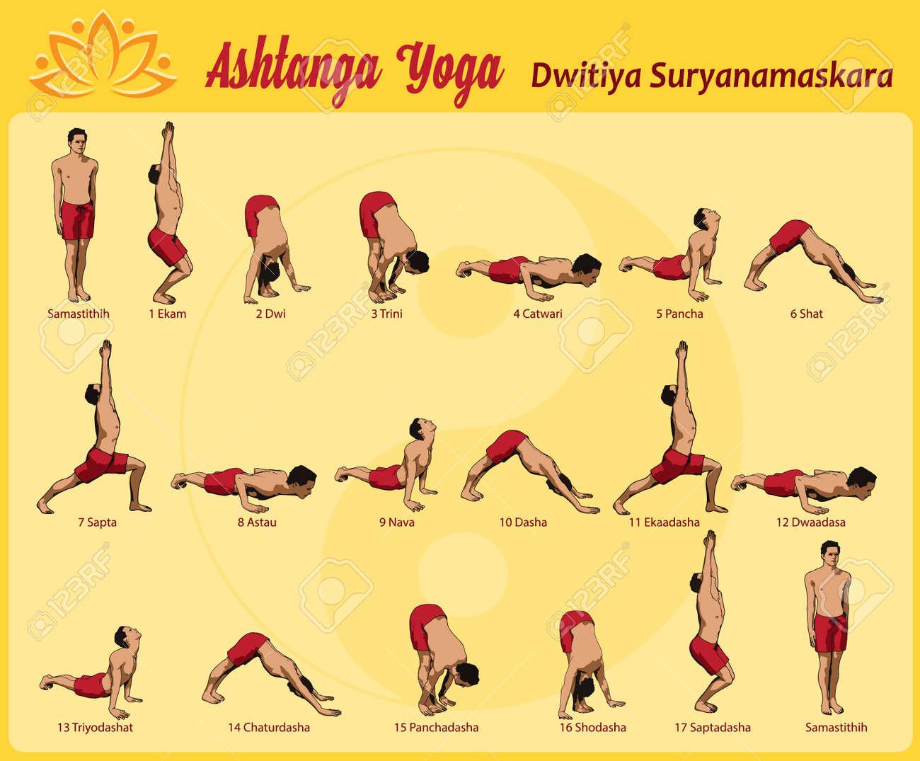 Ommon Sequence Of Asanas In The Practice Yoga Surya Namaskar Stock Vector