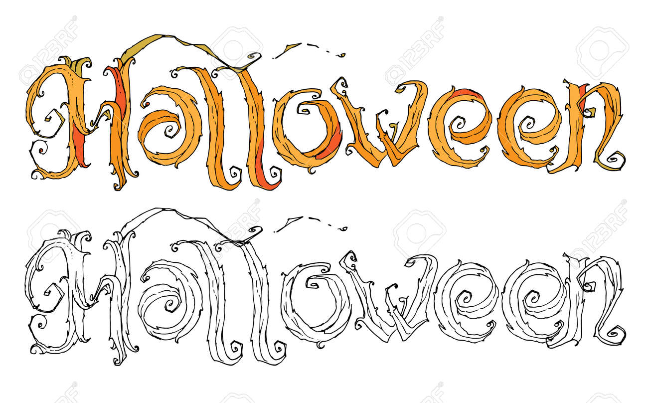 Le Mot Halloween Modèle Main Dessin Pour La Conception Et L Impression