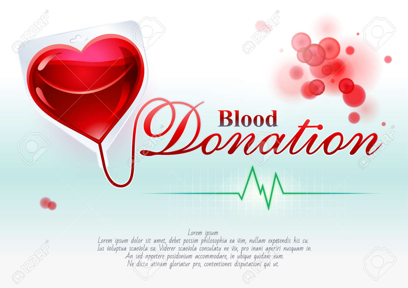 Representative symbolic, creative illustration of blood donation with the elements of graphic design: heart, blood, ECG and text support - 50732481