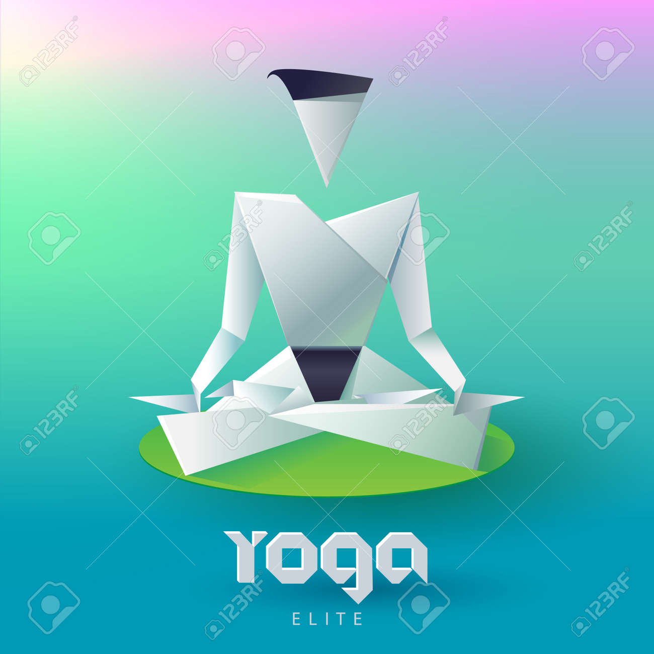Yoga Man In The Lotus Position Form Of Origami Logo Design