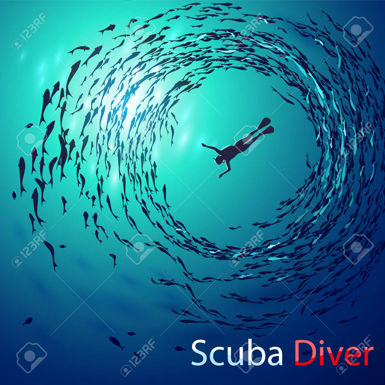 Creative illustration on the theme of diving. Image diver under water is surrounded shoals of fish (bottom view). With inscription: Scuba Diver - 61407669