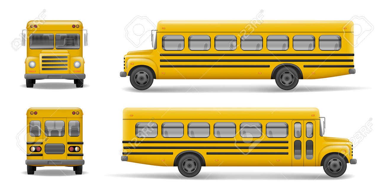 yellow school bus front back and side view transportation and