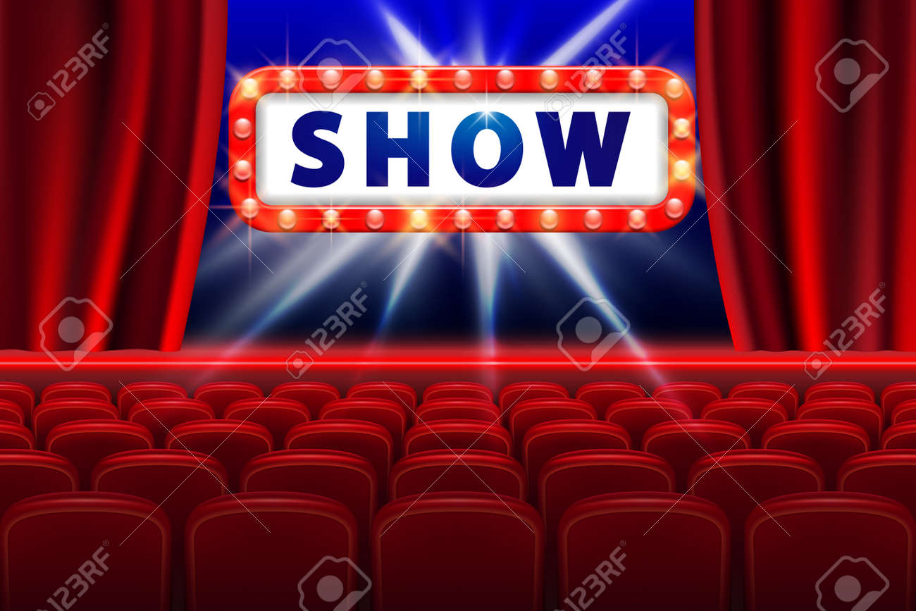 Cinema Show Design With Lights Scene And Red Seats Poster For Concert Party