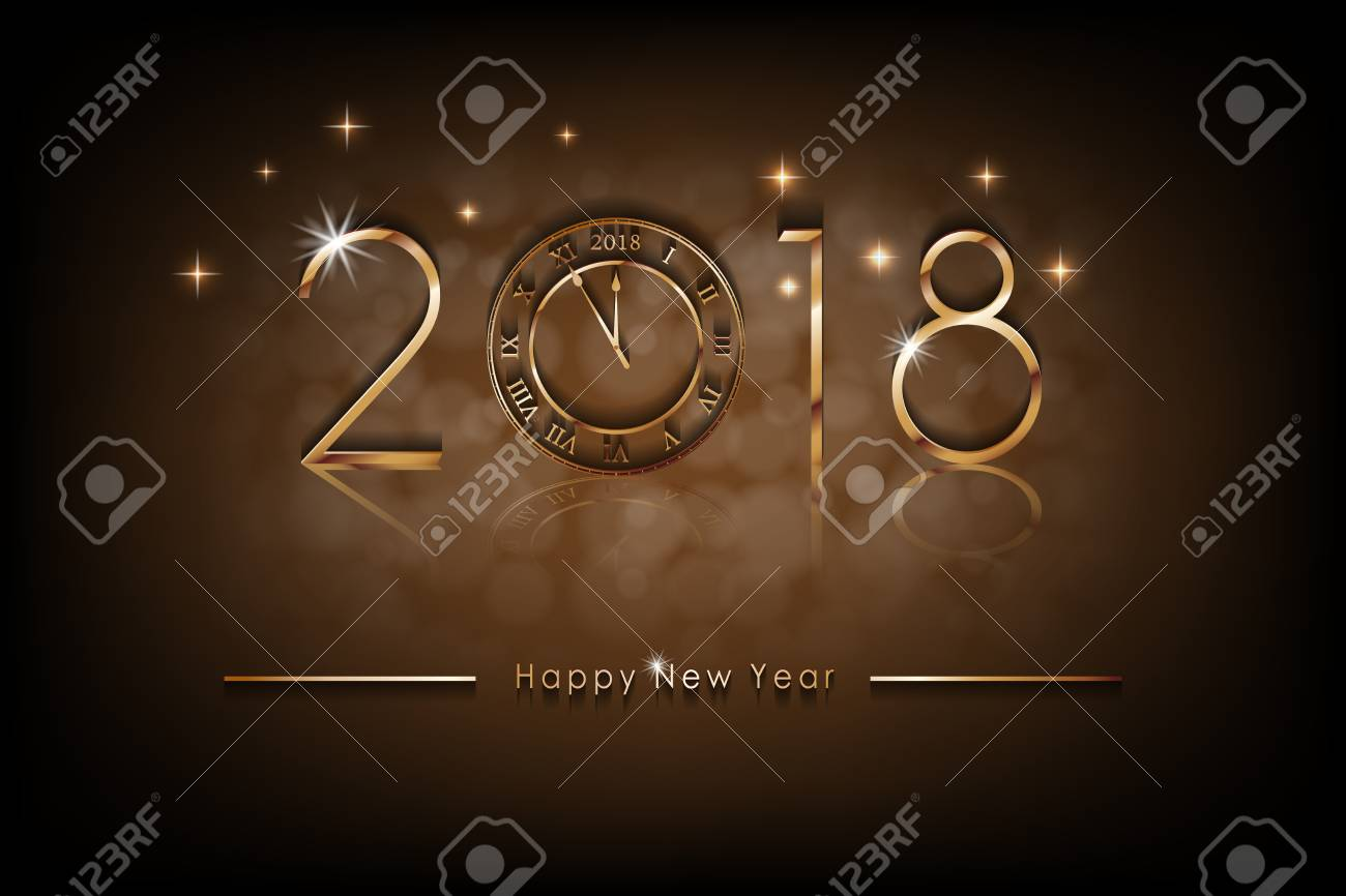 Happy New 2018 Year Illustration Greetings New Year Background
