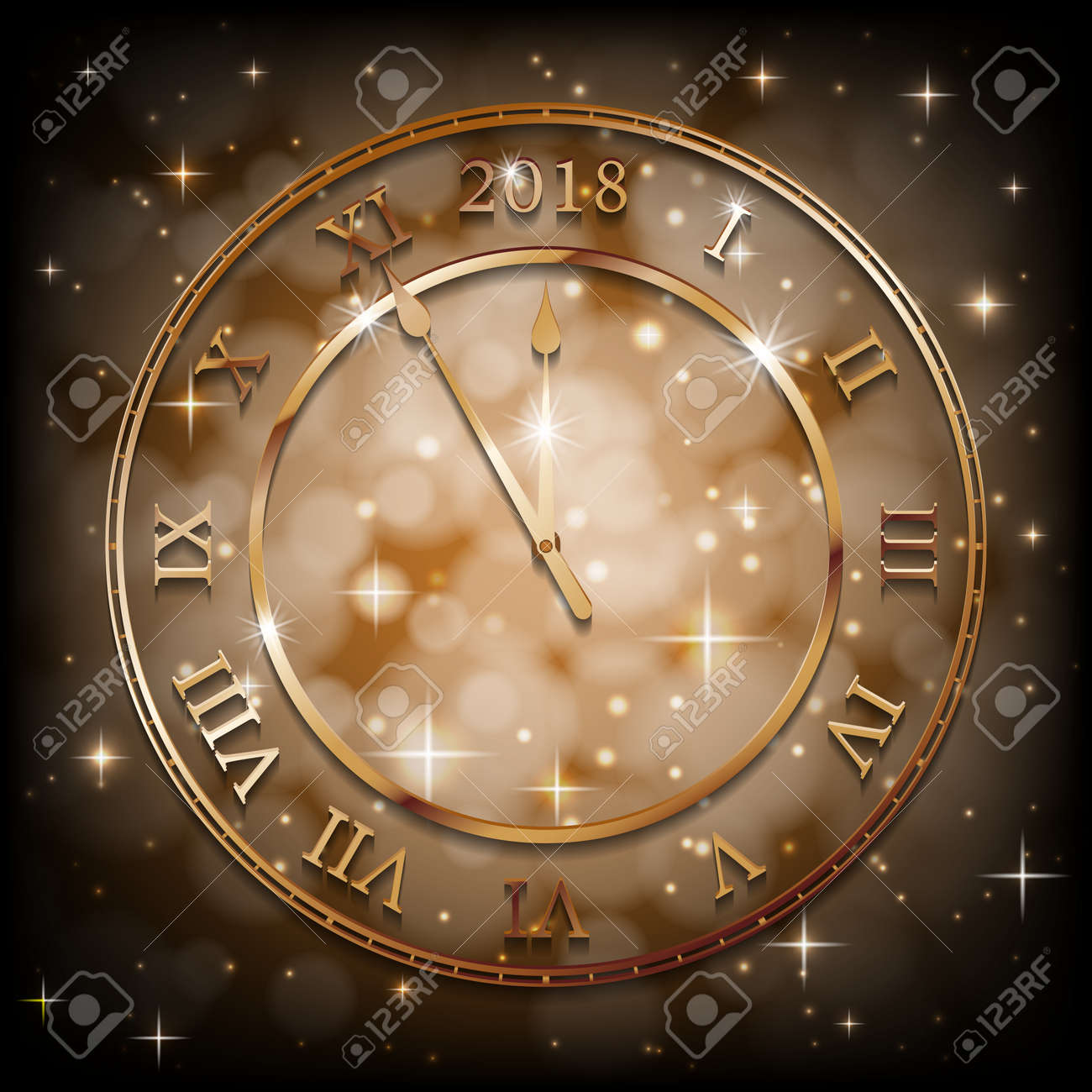 New Year 2018 Gold Background With Bronze Old Clock Greetings