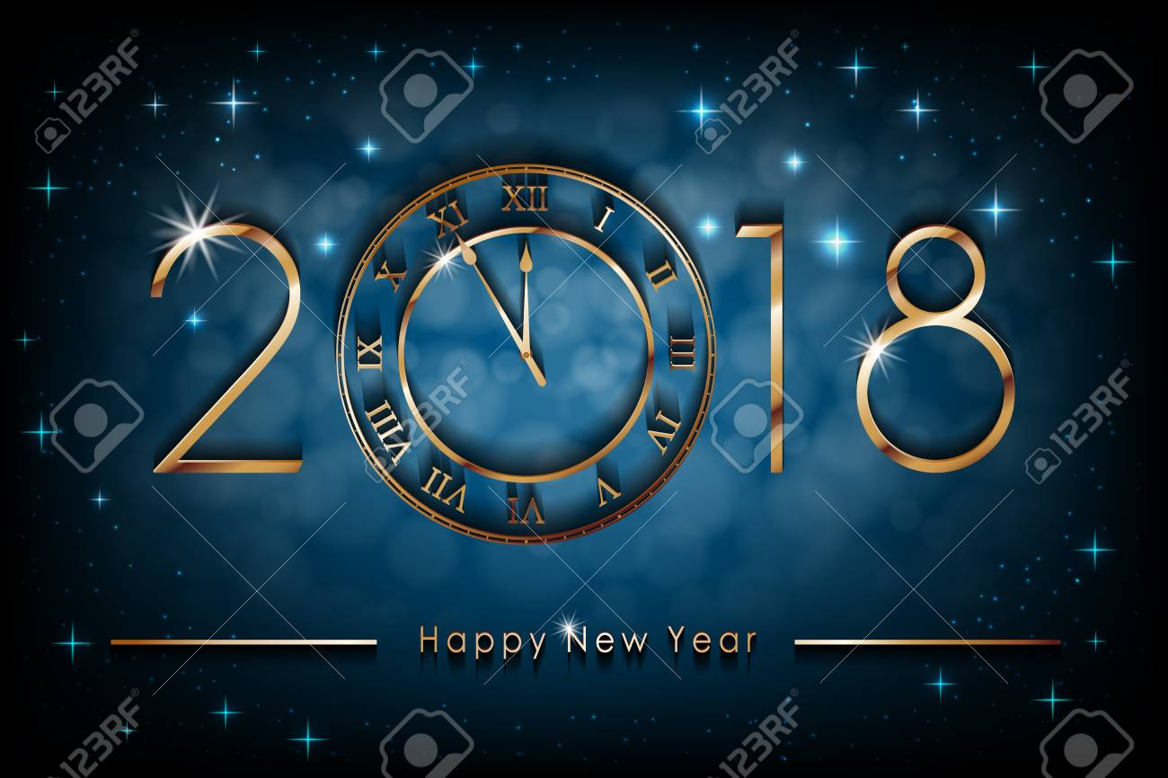 happy new 2018 year illustration on blue shiny background greetings new year banner with gold