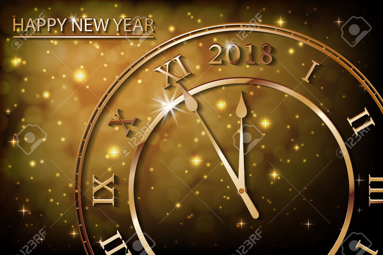 new year 2017 gold background with bronze old clock greetings banner with sepia background