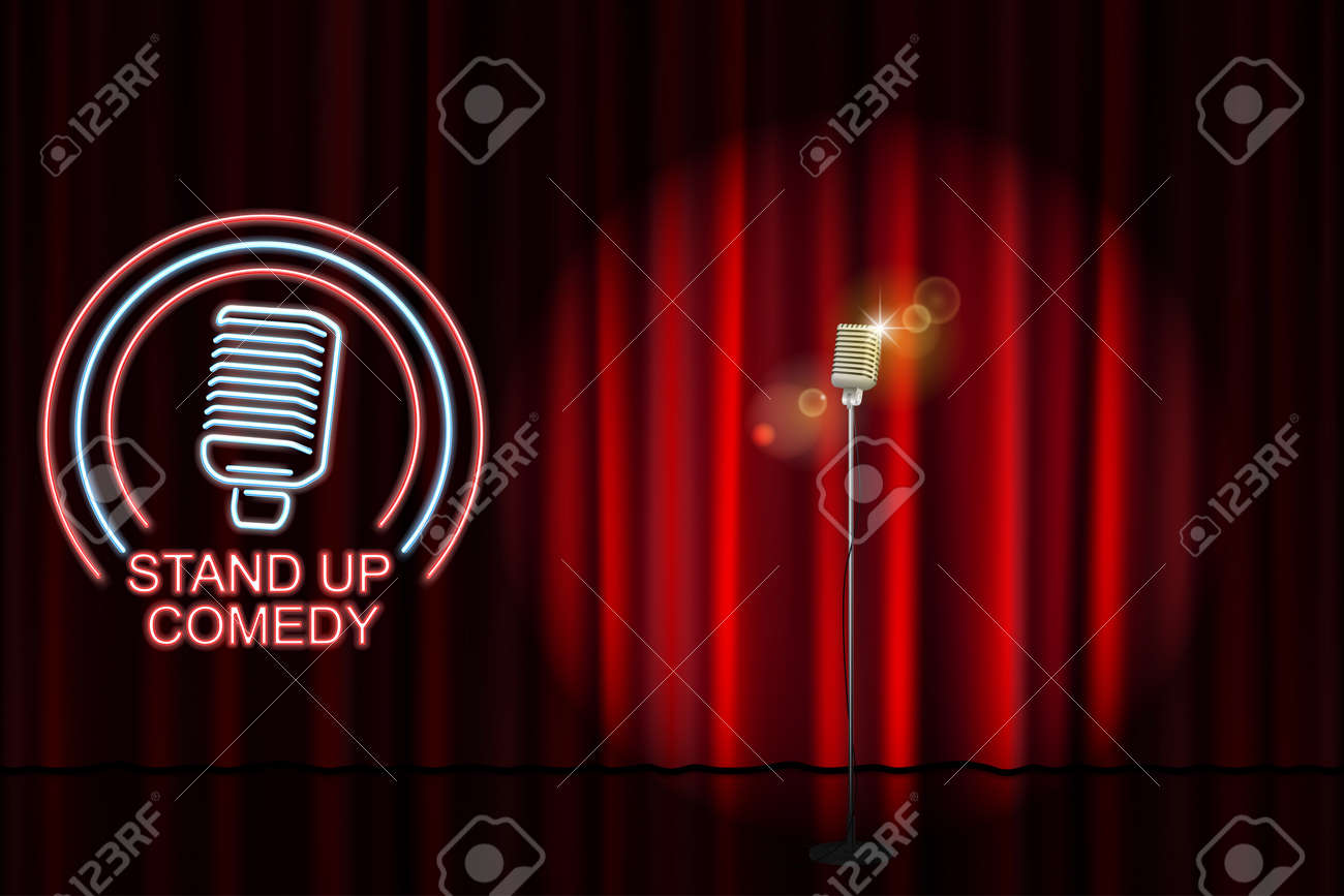 Stand up comedy with neon microphone sign and red curtain backdrop. Comedy  night stand up