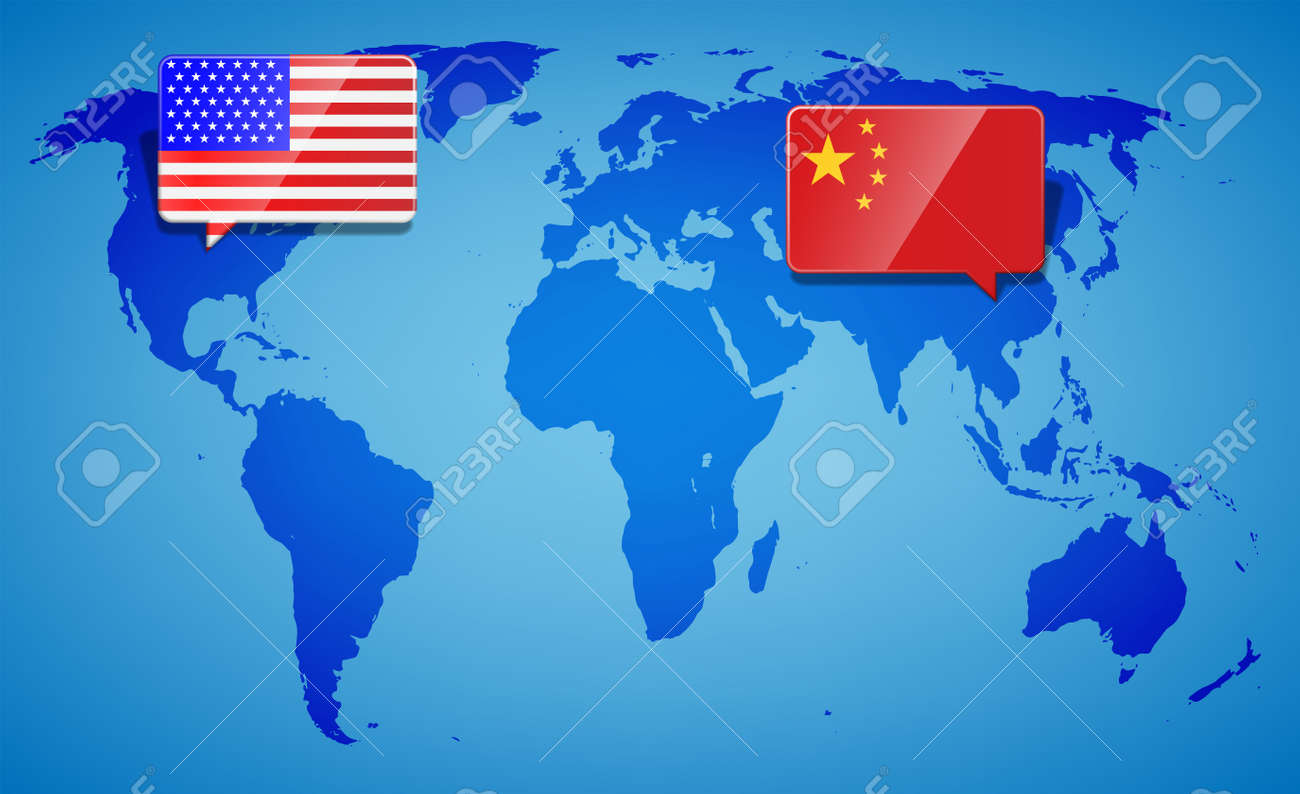 USA And China At The Blue World Map Background. Trade War With ...