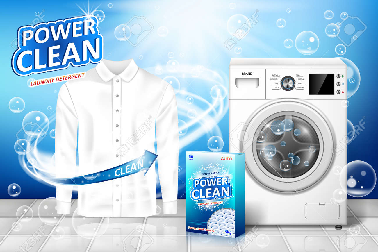 Laundry detergent ad. Stain remover banner design with realistic washing machine and laundry detergent package with clean white shirt. vector illustration EPS 10 - 123282151