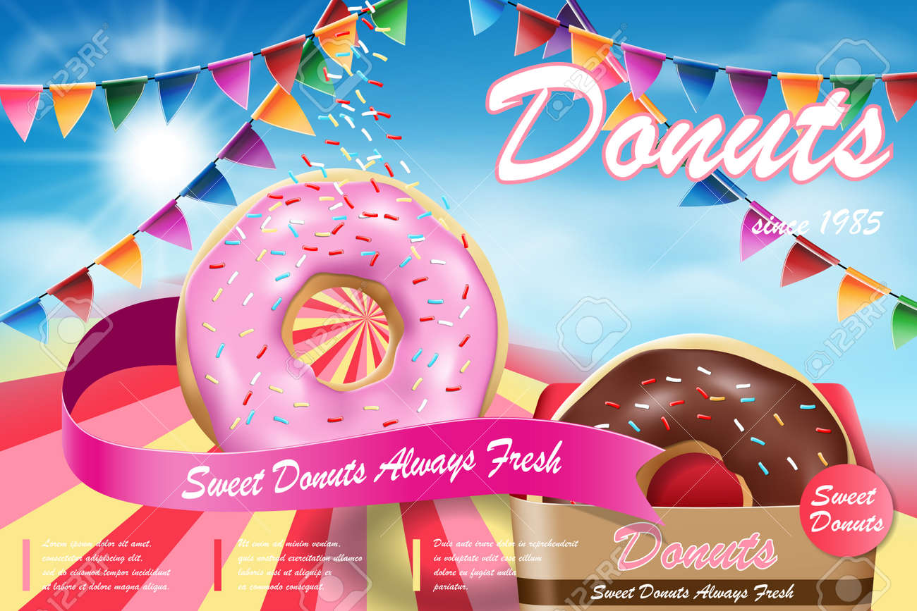 Delicious donut ads with flying flavor. Strawberry and chocolate donuts on blue background. Vector illustration - 142342122