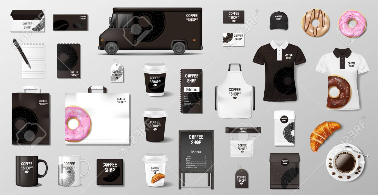 Realistic mockup for Bakery shop, Restaurant, Cafe. Corporate style Bakery food package mockup. Set of cup, pack, uniform, shirt, donut, croissant, paper bag - 146963974