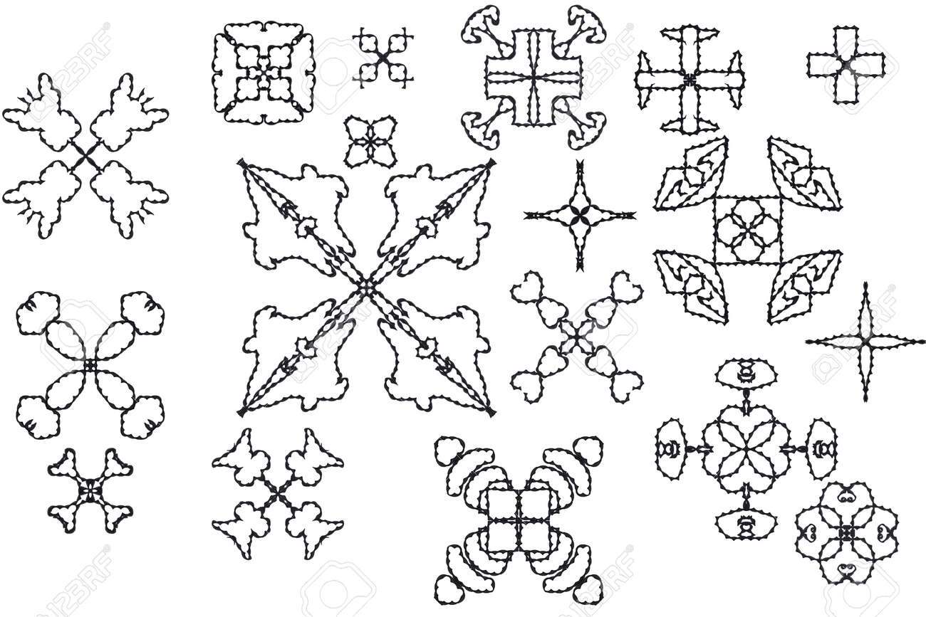 Elements of ornament for design in retro style black on white background Stock Photo - 16771273
