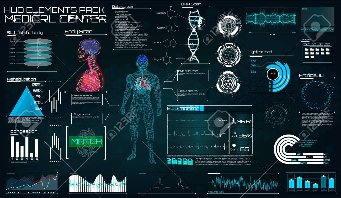 Modern medical examination in the style of HUD. Ultrasound and cardiogram. A futuristic medical interface, a virtual body scanning interface with heart, human body and electrocardiogram illustrations. - 99617206