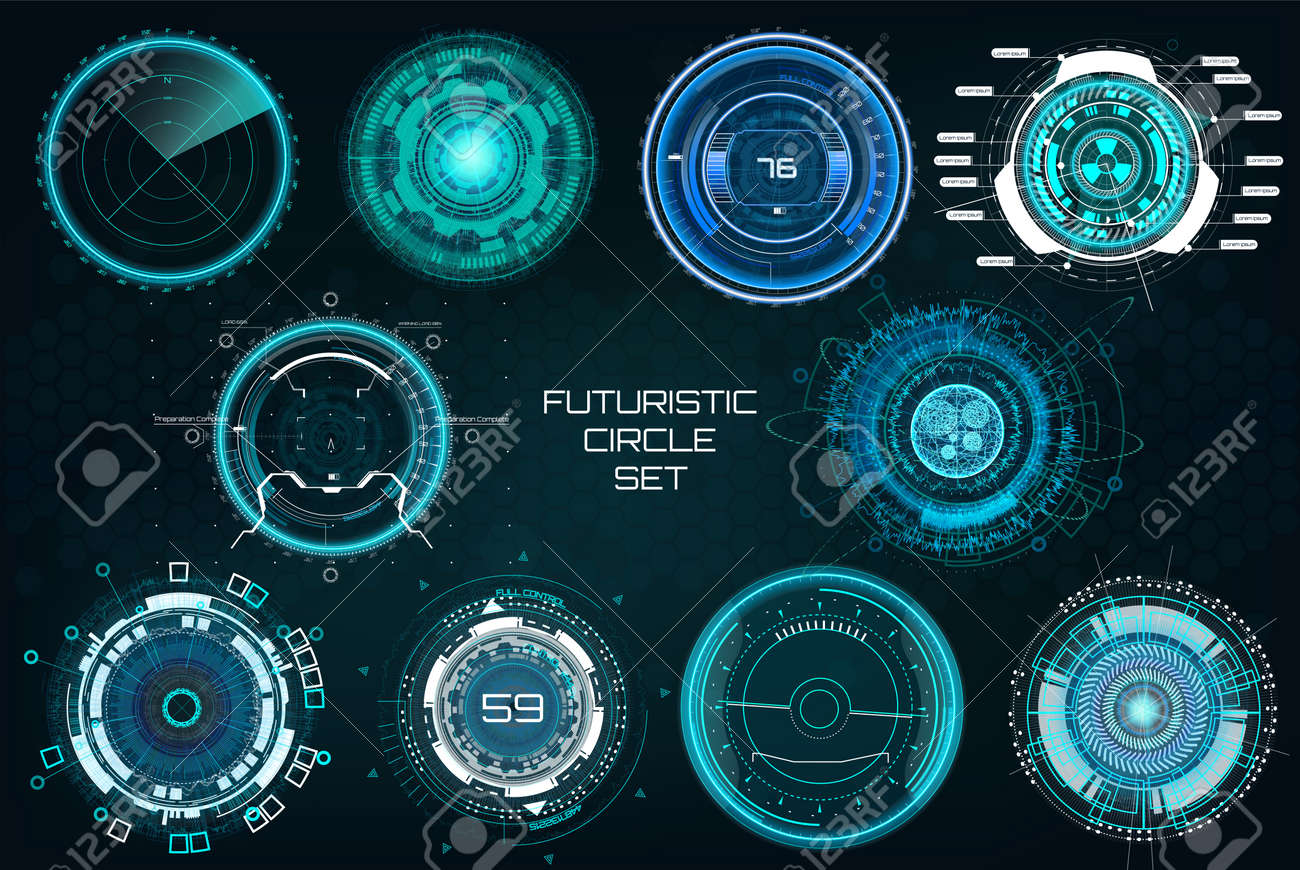 Futuristic Circles, Full color Elements Set. HUD Sci Fi Interfaces (Cockpit Panels, Circulars, Dashboards, Crosshair, Radar) Modern technoloy elements HUD UI. Vector full colors Sci fi interfaces set - 102393355