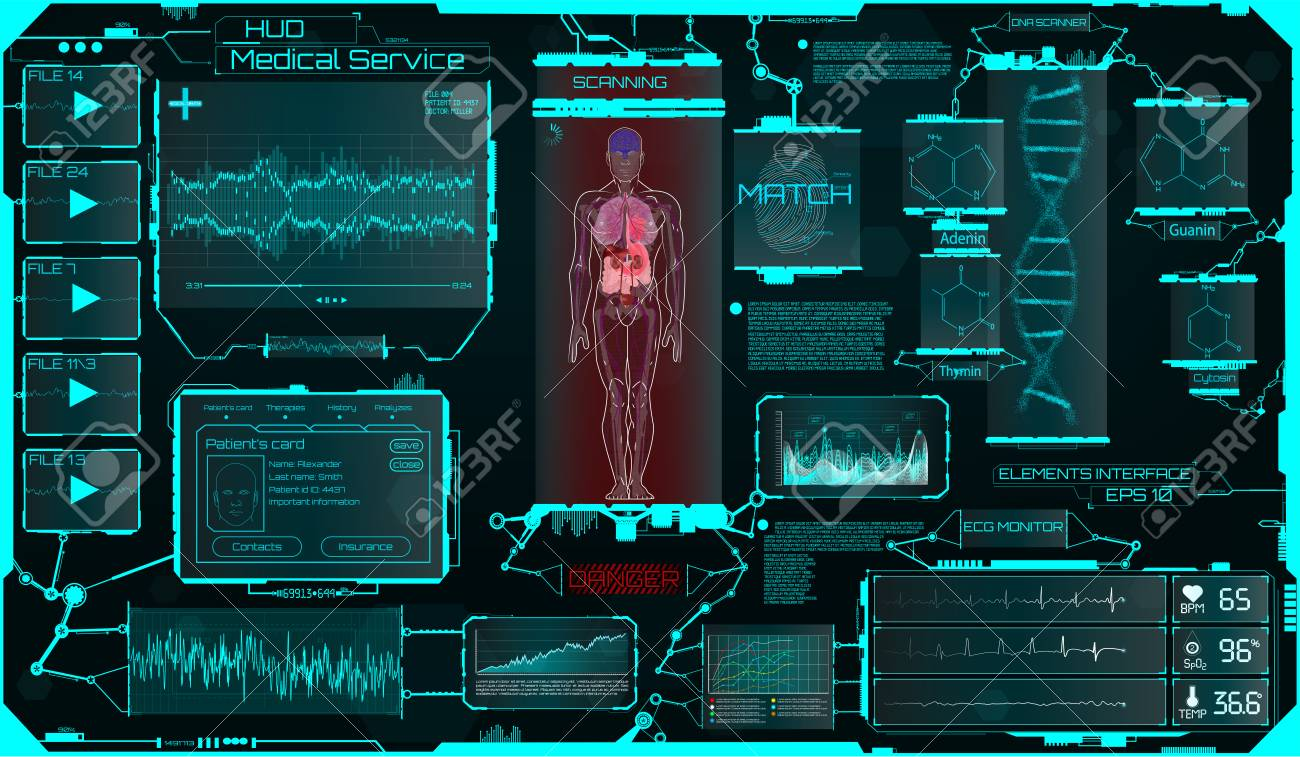 Hud Ui Elements Medical Science, a Virtual Graphic Touch Interface With Illustrations of Human Scanning and the Update of His Illnesses. HUD, Sci, Medical Interface, Data, Infographic and DNA Formula - 104603530