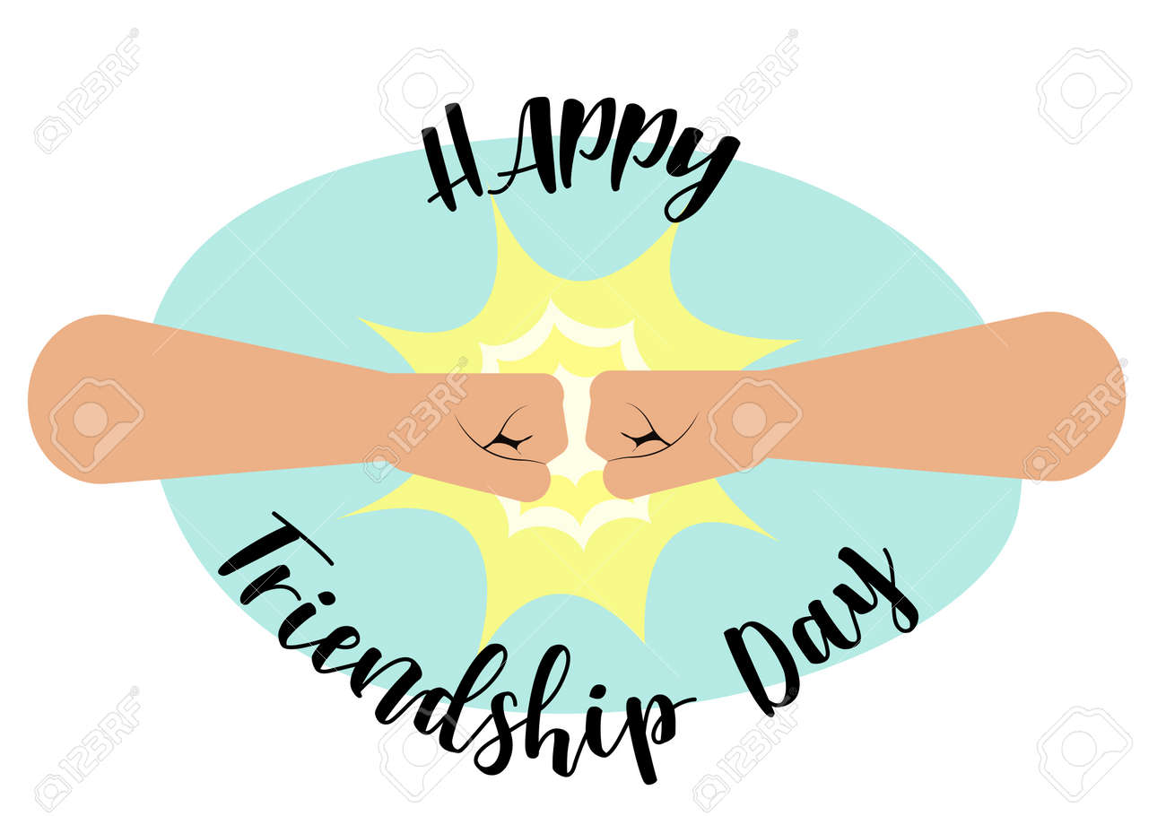 fist bump happy friendship day concept with masculine fraternal