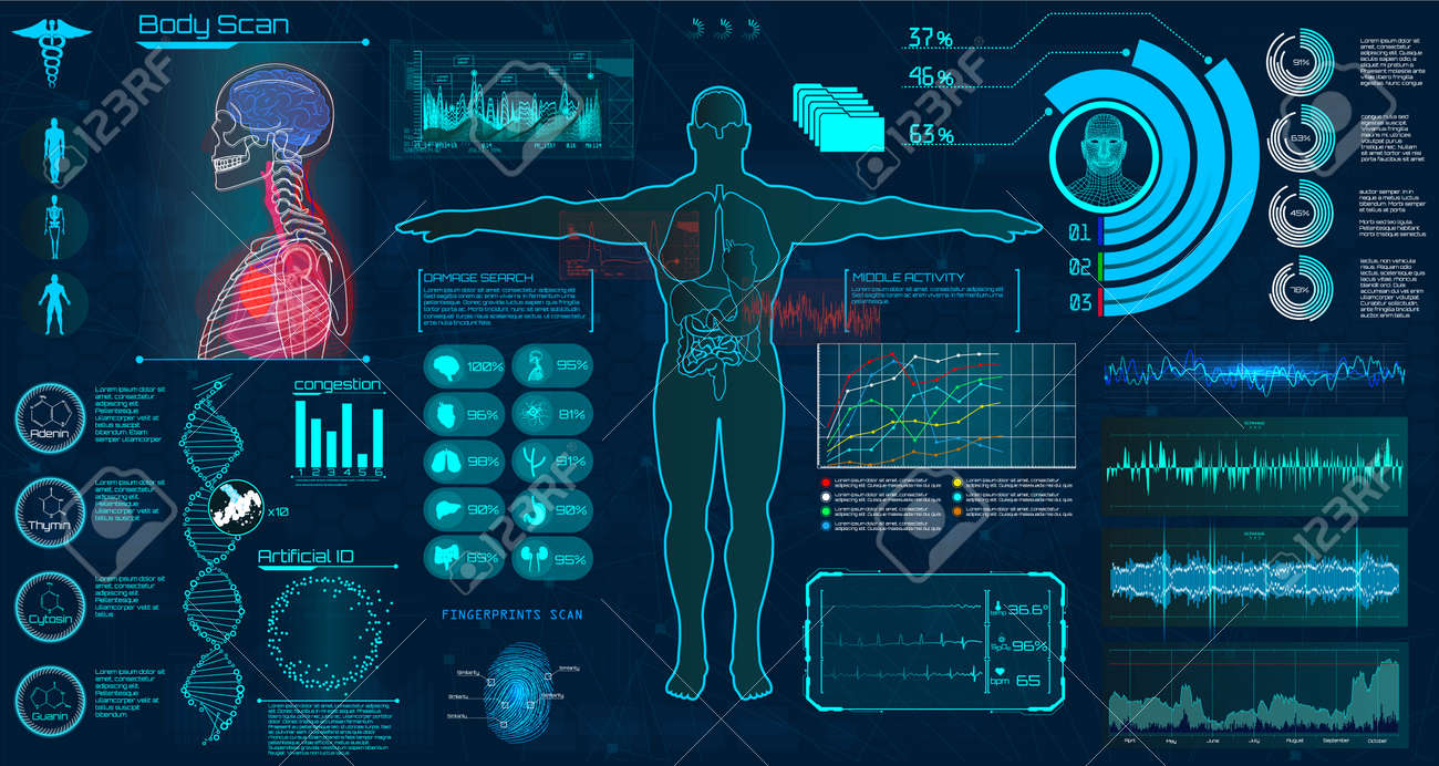 Modern Medical Examination Hud Style Human Body Scan Anatomy