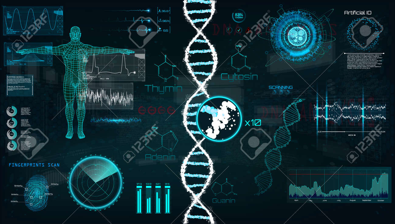 HUD, DNA infographic interface. Interface, vector graphic, medical, heart, bpm, body scan, dna, graphs, diagrams, futuristic design. Modern medical Examination in HUD style. Vector UI template set - 108957953
