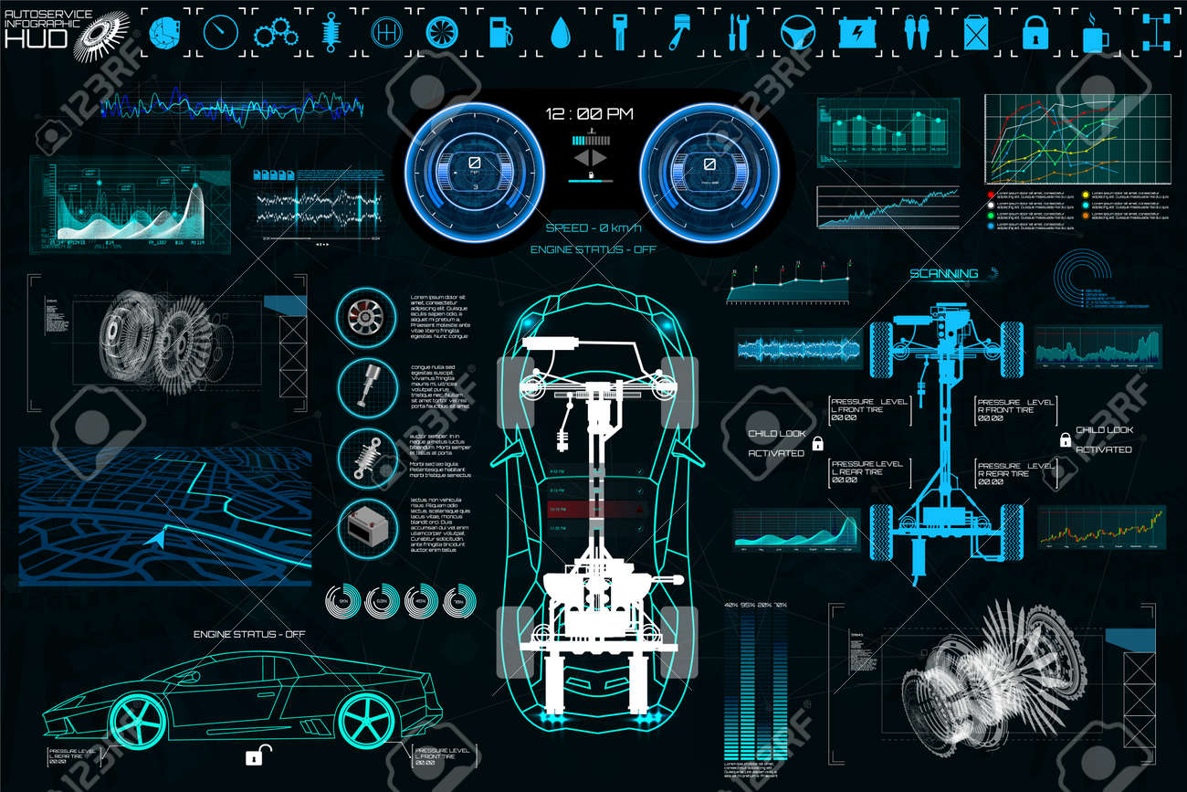 Car Auto Service, Modern Design HUD, Diagnostic Auto (view from above) Virtual Graphical Interface in Modern Style (Infographics, Auto Scanning, Analysis and Diagnostics) HUD Vector Set Elements - 108957951