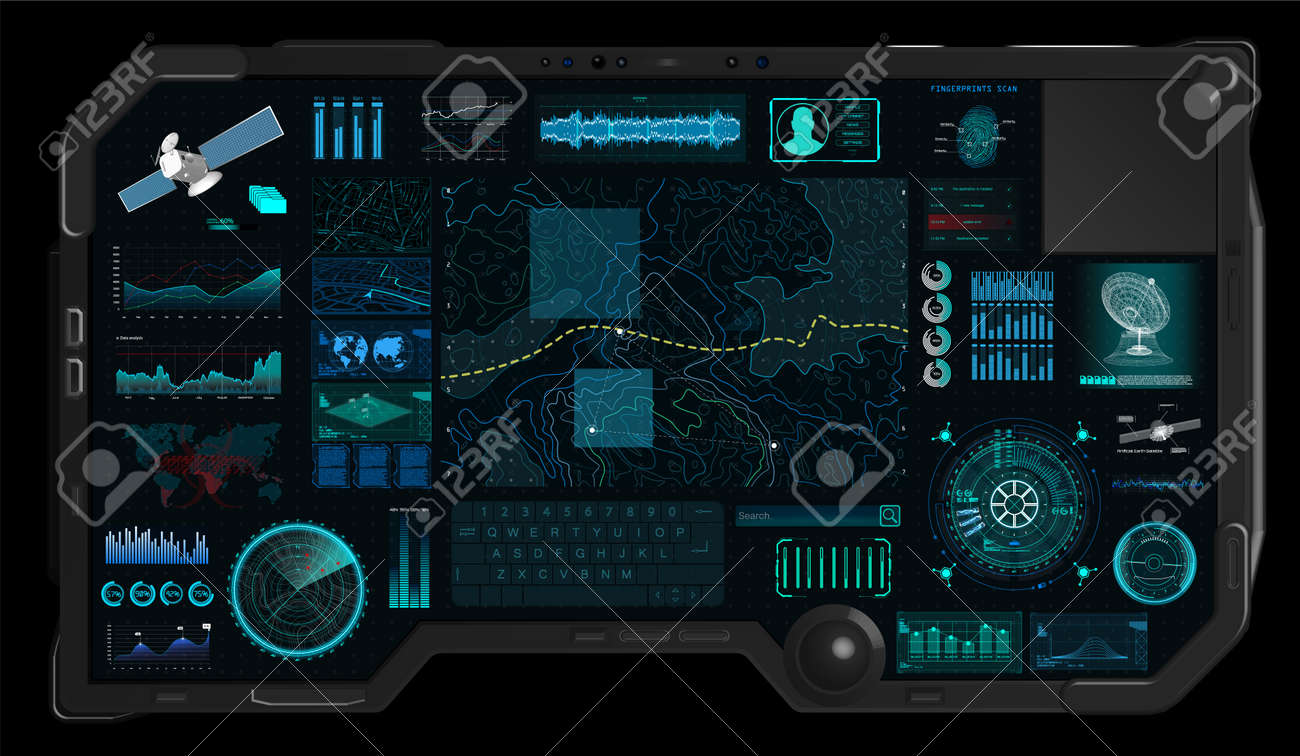 Topographic Map Games.Command Center Screen In Hud Style Topographic Map Contour