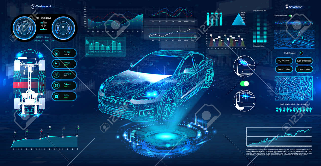 Innovation system diagnostic Auto in HUD UI style. Futuristic car service, scanning and auto data analysis. Car Auto Service, Modern Design, Diagnostic Auto. Virtual Graphical Interface HUD. Vector - 115948234