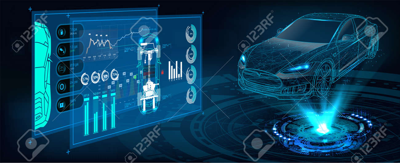 HUD UI. Abstract virtual graphic touch user interface. Car service in the style of HUD. Hologram of the car. Car projection - 132069942