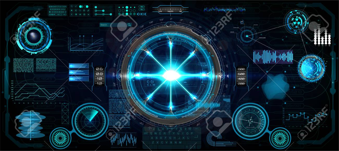 Head-Up Interface set for GUI, UI, UX design. HUD style, Technology elements set (space, dashboard, hologram, spaceship, medicine, finance, analytics) Mechanical scheme HUD electric field. Vector set - 124073715