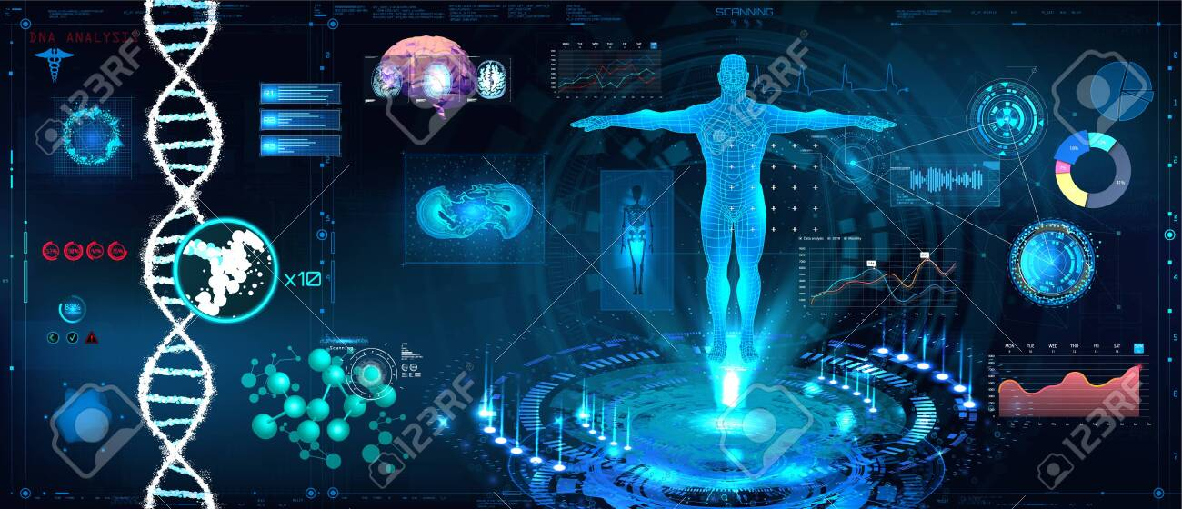 Healthcare futuristic scanning in HUD style design, Human body, organs and brain scan with pictures. Hi-tech elements. Virtual graphic touch HUD UI with illustration of DNA formula and data chart - 124074783