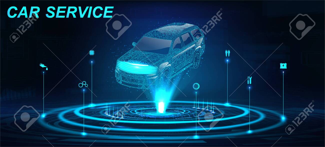 Car Auto Service in futuristic style HUD with hologram crossover and icons. Low poly 3D car projection. Scanning and automobile data analysis. Car Auto Service, Modern Design, Diagnostic. Vector - 132070226