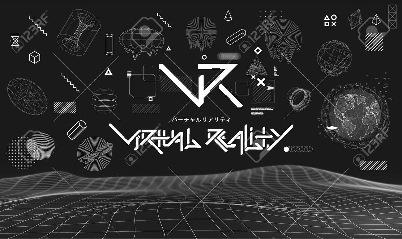 Black digital abstract elements with glitch generative art, futuristic lettering and logo VR and geometric composition. Sky-fi shapes set, Cyberpunk technology elements. Cyberpunk glitch collection - 156119396