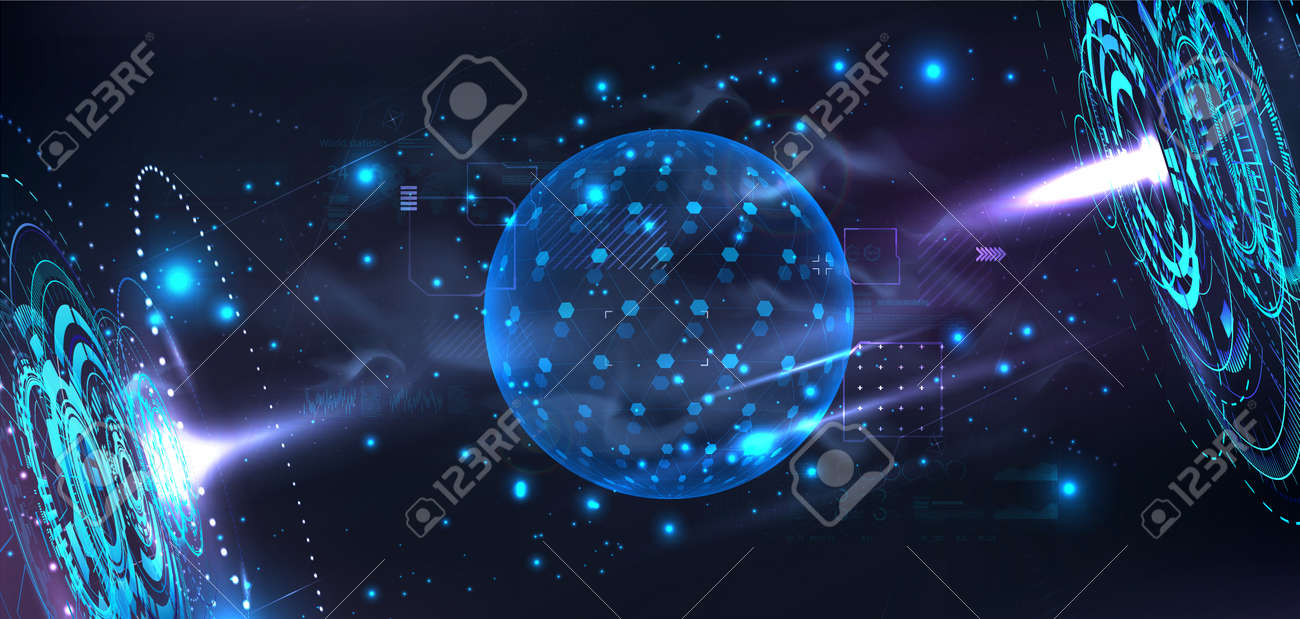 Futuristic lab with holograms and a 3D bubble shield to present your product in futuristic cyberspace background. Template blank Dome or sphere with HUD interface. Cover in cyberpunk style. Vector - 169522541