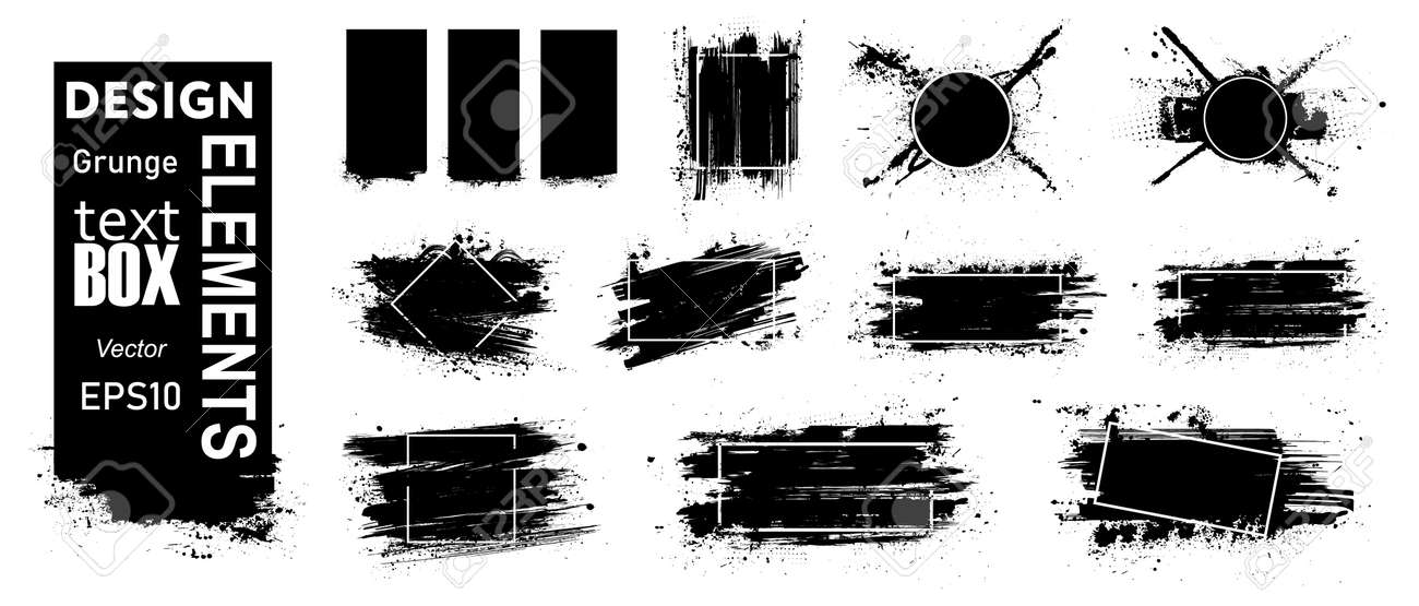 Paint grunge compositions with frame, texting boxes. Black grunge with frame for logo. Dirty design elements, quote box speech template. Black splashes isolated. Street art template set. Vector - 169523032
