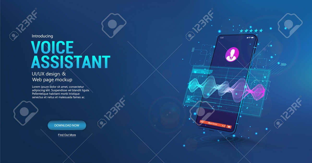 Voice assistant in smartphone application. 3D mockup smartphone with sound wave and UI. Microphone voice control technology, voice and sound recognition. Equalizer, wave flow, Ai assistant. Vector - 169523037