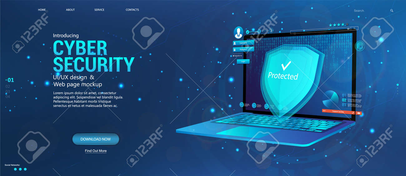 Protecting all personal data on your computer. Cyber security concept banner with laptop and security elements, data encryption, verification, software. Data privacy protection concept and shield - 169523041