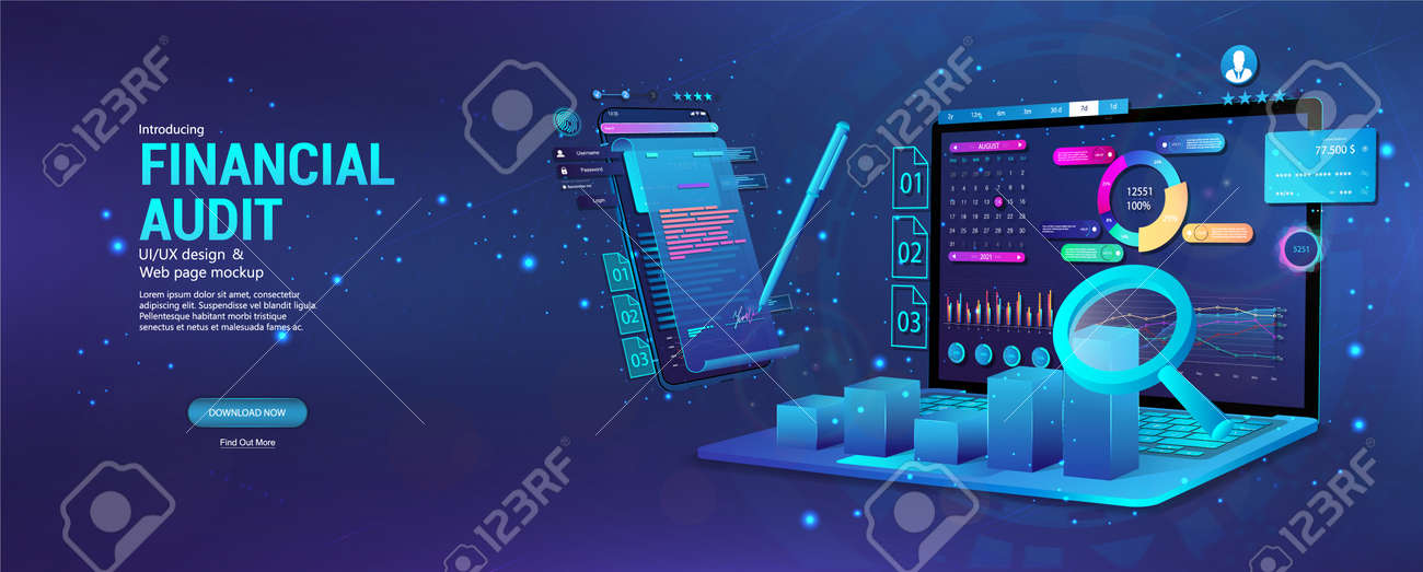 Financial audit web page banner. Modern financial management. Business account tax report, laptop with graphic and charts, documents. Financial audit, business account tax report. Vector Banner - 169523045