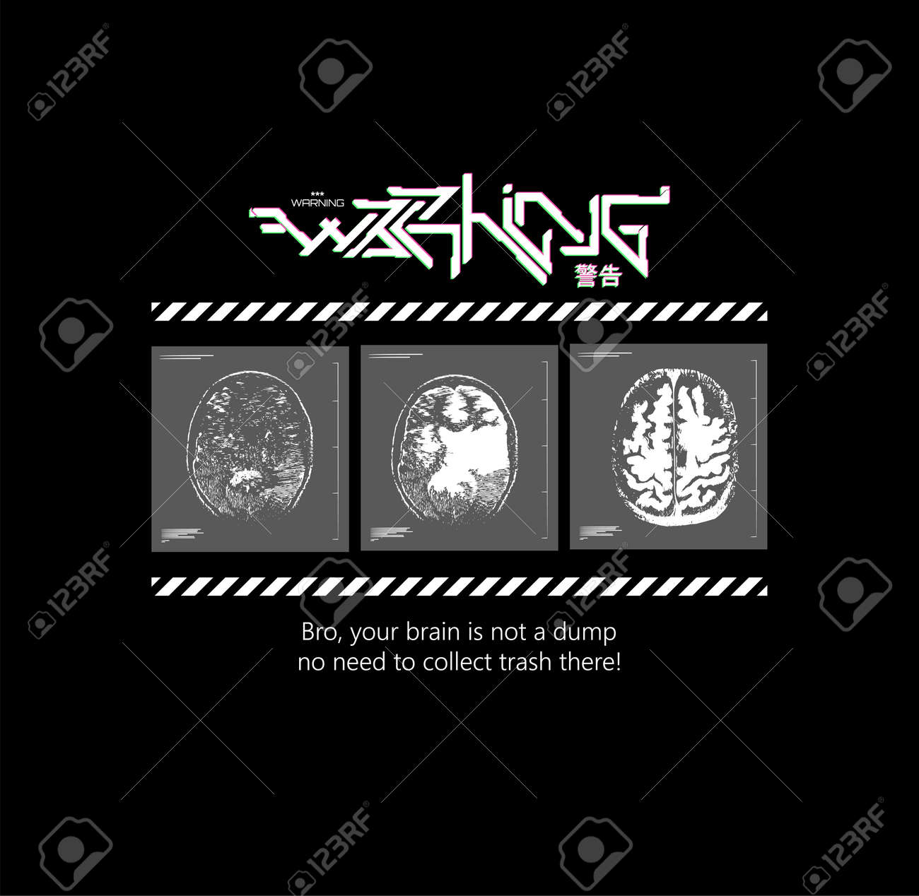 Slogan print t-shirt and merch. The concept of not cluttering your mind. Also suitable for conceptual invitation, poster, art illustration. Warning futuristic graffiti and mri brain. Cyberpunk art - 169523047