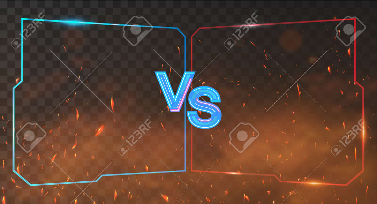 Red and blue Versus Battle banner with neon frames, smoke and sparks. VS background for competition, match game, sport, fights. VS neon letters on red and blue background. Vector Illustration Versus - 169523052