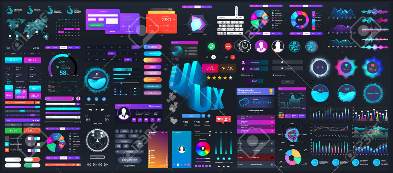 Dark set elements user interface. Universal collection for Web, UI, UX and KIT. Colorful interface, neon design. Big set UI elements - navigation, buttons, graphic bars and charts. Vector collection - 169523057