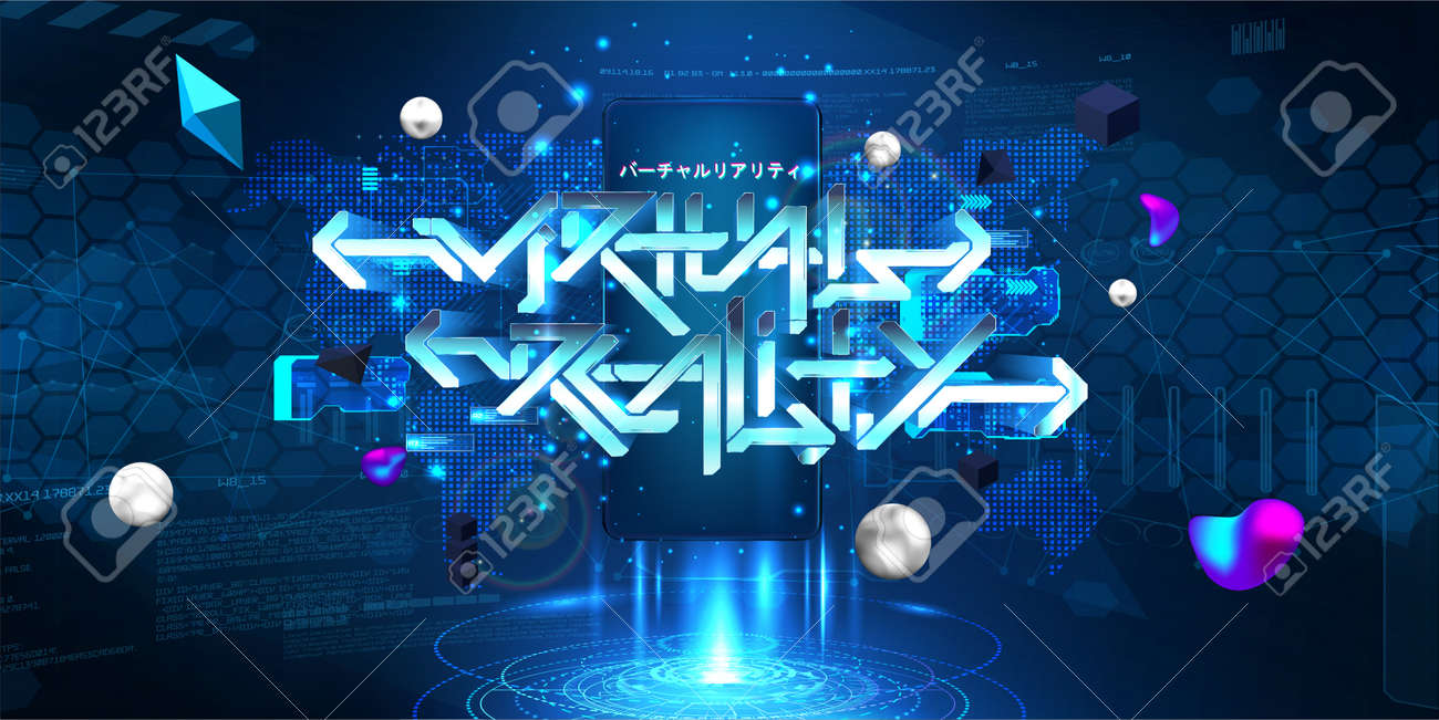 VR and AR mobile concept with 3D lettering Virtual reality and hologram with HUD interface, 3D shapes. Augmented design cyberspace UI, UX, KIT. Japanese lettering translation - virtual reality - 169523060