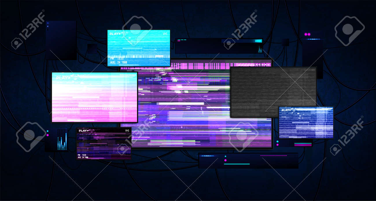 Futuristic server room with screens glitch effect. Dark cyberspace with burning monitors, wires and working equipment. Cyberpunk server room with monitors. Hacking and cyber protection concept. Vector - 169523064