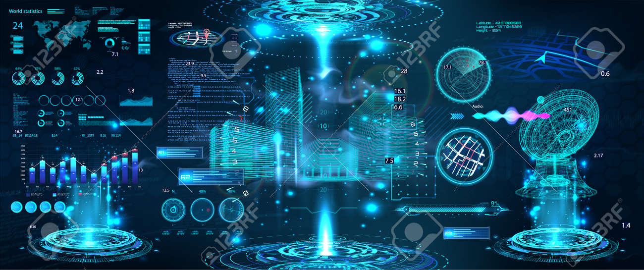 Advance control center with HUD UI. Building Information Modeling with Futuristic User Interface. Smart technology IOT for city and buildings. Scifi 3D hologram models with HUD. Vector illustration - 169523065