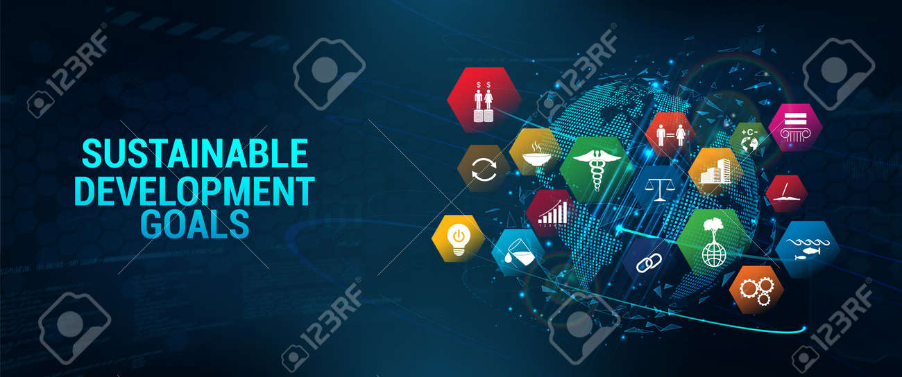 Web banner SDG - Sustainable Development Goals. Futuristic banner long-term project the united nations with 3D Earth Globe and 17 aspects in 17 colorful icons. Sustainable Development Goals. Vector - 169523067