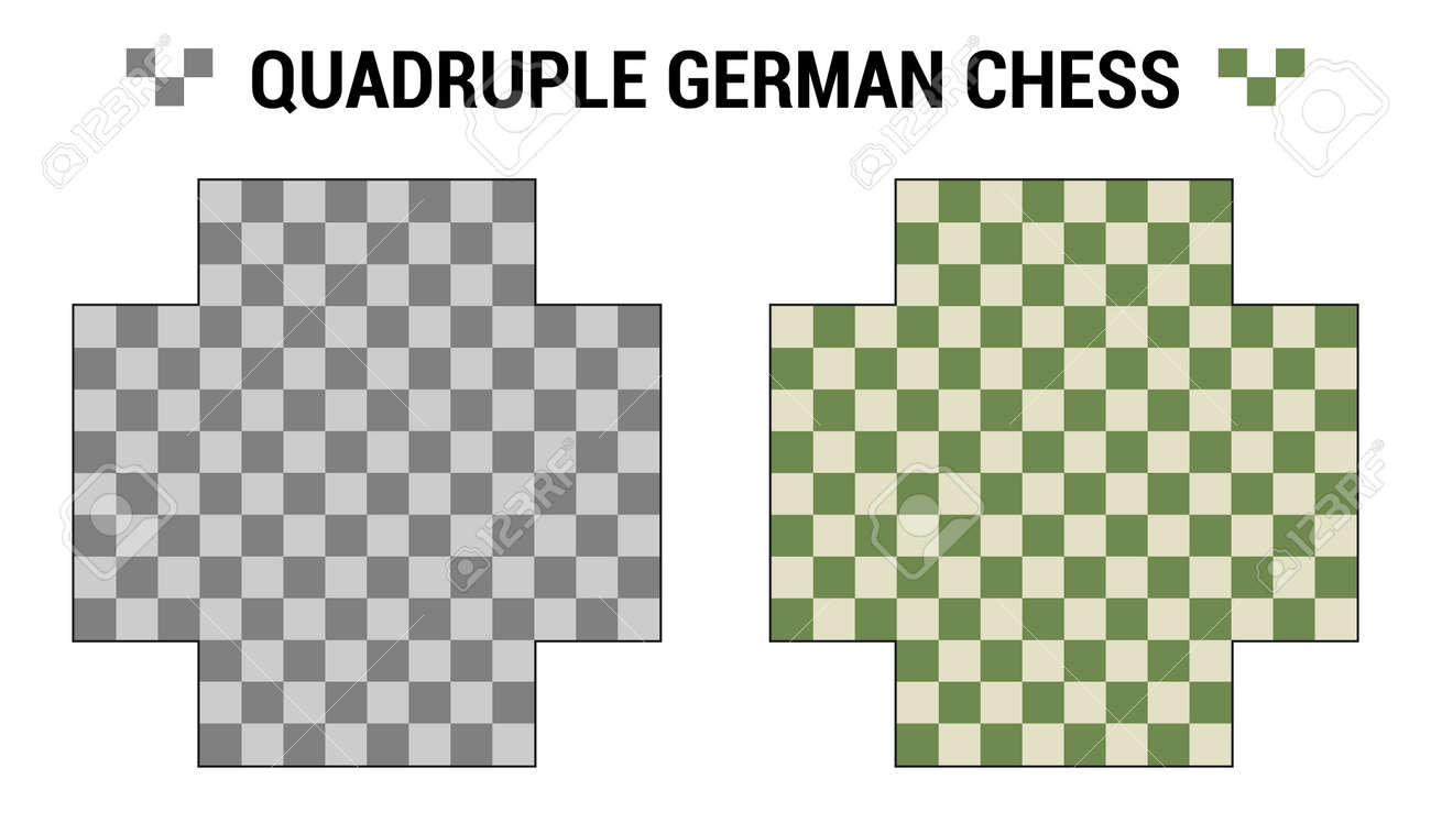 Quadruple German or European Chess. Two boards for 4 chess players with different color combinations. Vector boards template. Chessboard set view from above. Vector collection - 169523070