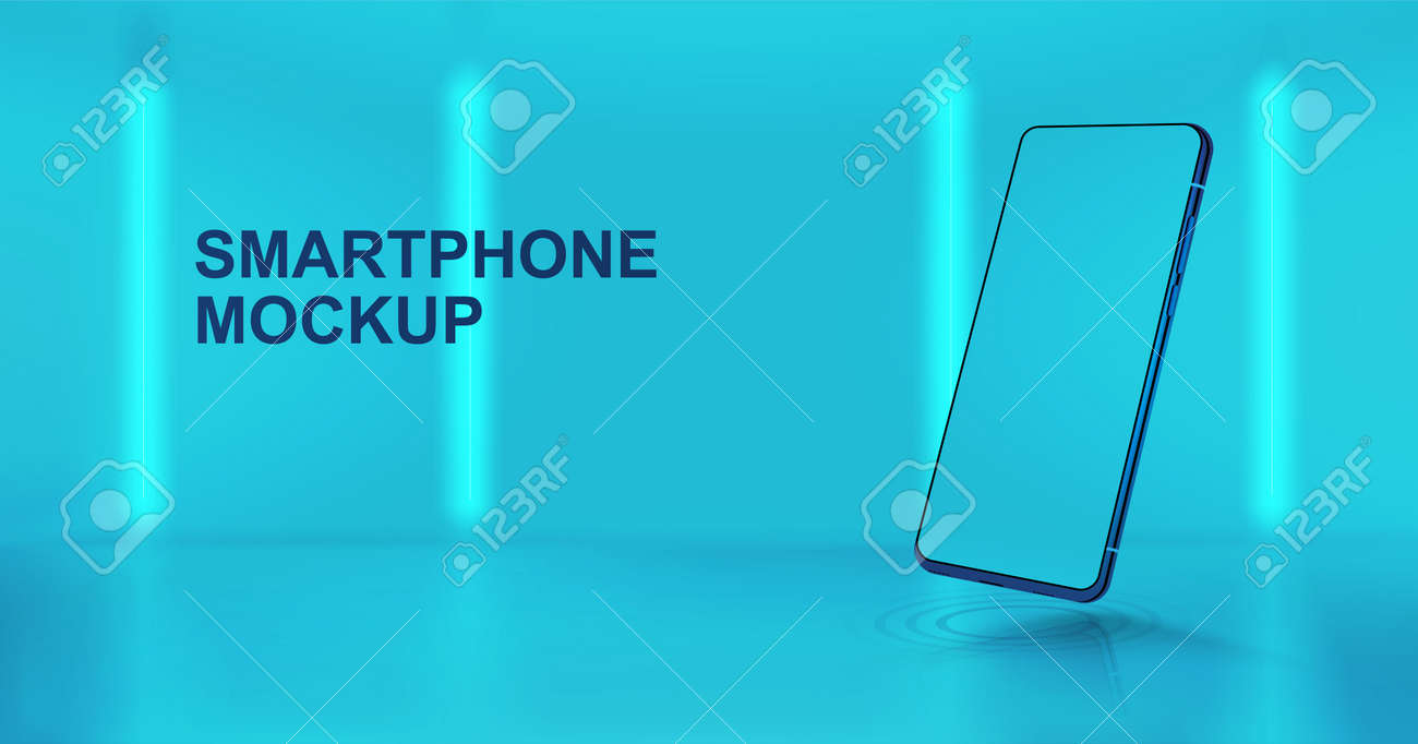 Studio background with 3D smartphone mockup in perspective position. Realistic mobile phone illustration with blank screen. Presentation smartphone in futuristic style and colors. Vector Mockup - 169523071