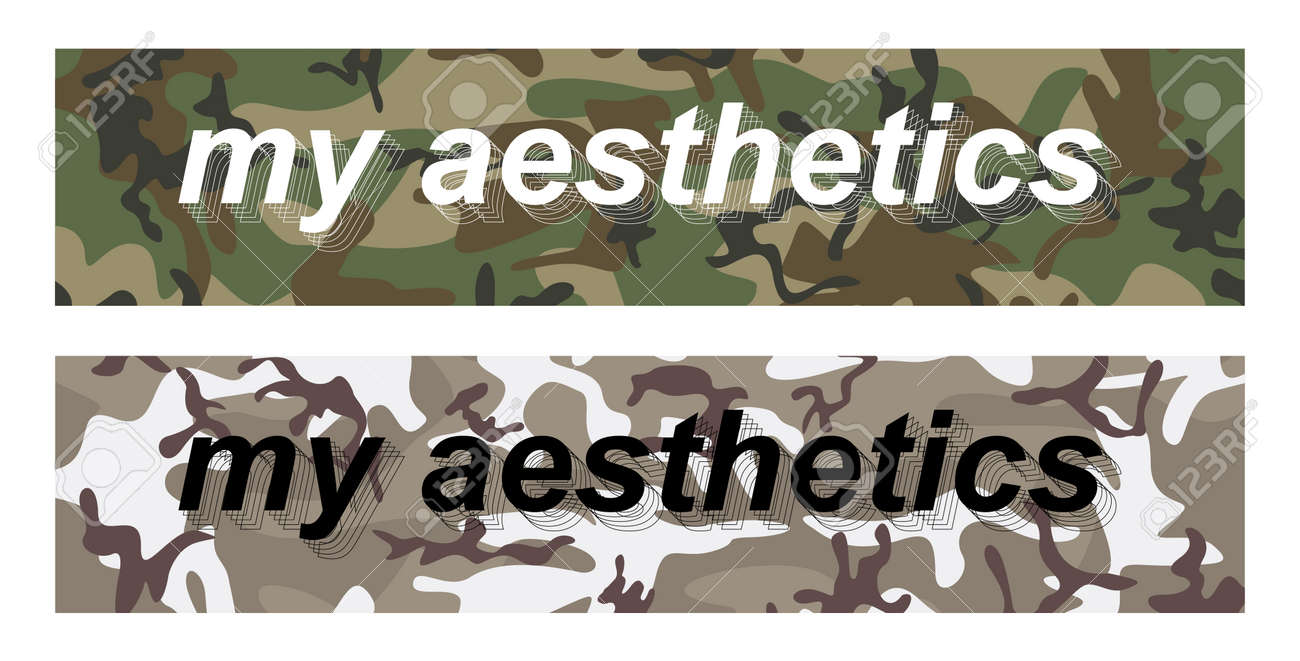 My aesthetics - slogan on military pattern for t-shirt design, merch, stickers, banners and other. Two print options my aesthetics are perfect for urban and sportswear. universal print. Vector set - 169523072
