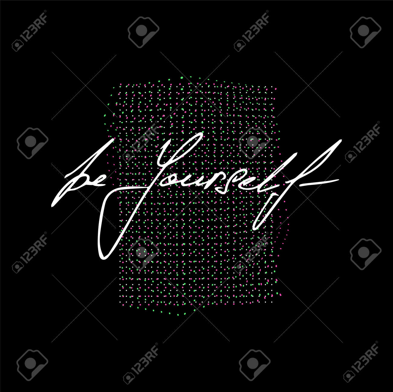Be yourself with abstract shapes and black backgrounds. T-shirt print with deep meaning. Vaporwave in memphis elements with slogan - be yourself. Typography print for merch, apparel, t-shirt. Vector - 169523096