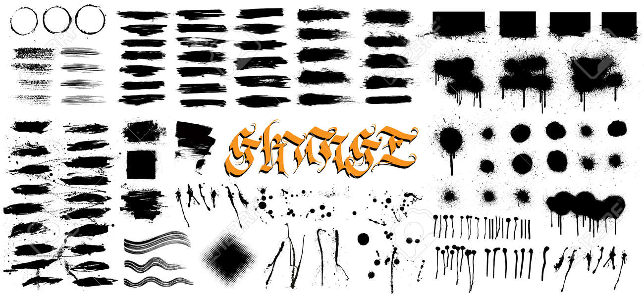 Very nice collection grunge, hi level traced. Grunge texture - brush stroke, spray graffiti, drops, brush lines, splashes, ink strokes and other. Ink artistic design texture. Vector set - 169523108