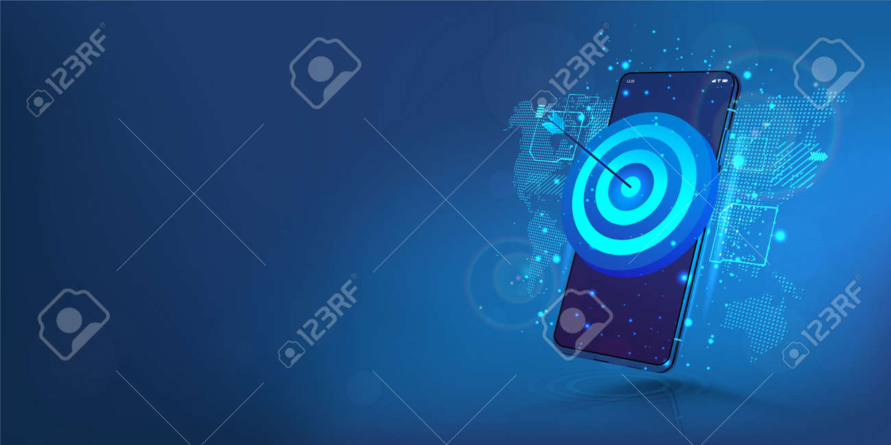 Darts target on smartphone display. The concept of success, achieving goals and in the direction and development of a company, startup or mobile App. Business target, success, accuracy concept. Vector - 169523113
