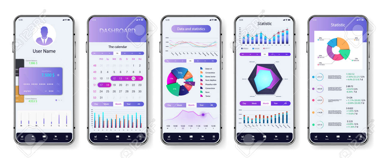 Light application interface for mobile phone. UI screens with dashboard, pie charts, infographics, diagrams and statistic. App mockup with investment, economic statistic and data forex. Vector UI set - 169523114